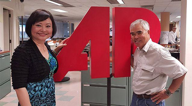 Kim Phuc and Nick Ut reunited at the Los Angeles bureau of the Associated Press, June 27, 2016. Photo: AP