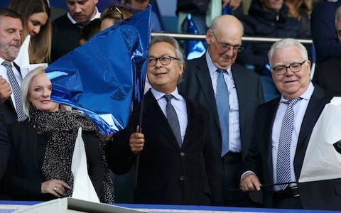 <span>Some Everton fans called for owner Farhad Moshiri (center) to approach Jose Mourinho</span> <span>Credit: getty images </span>