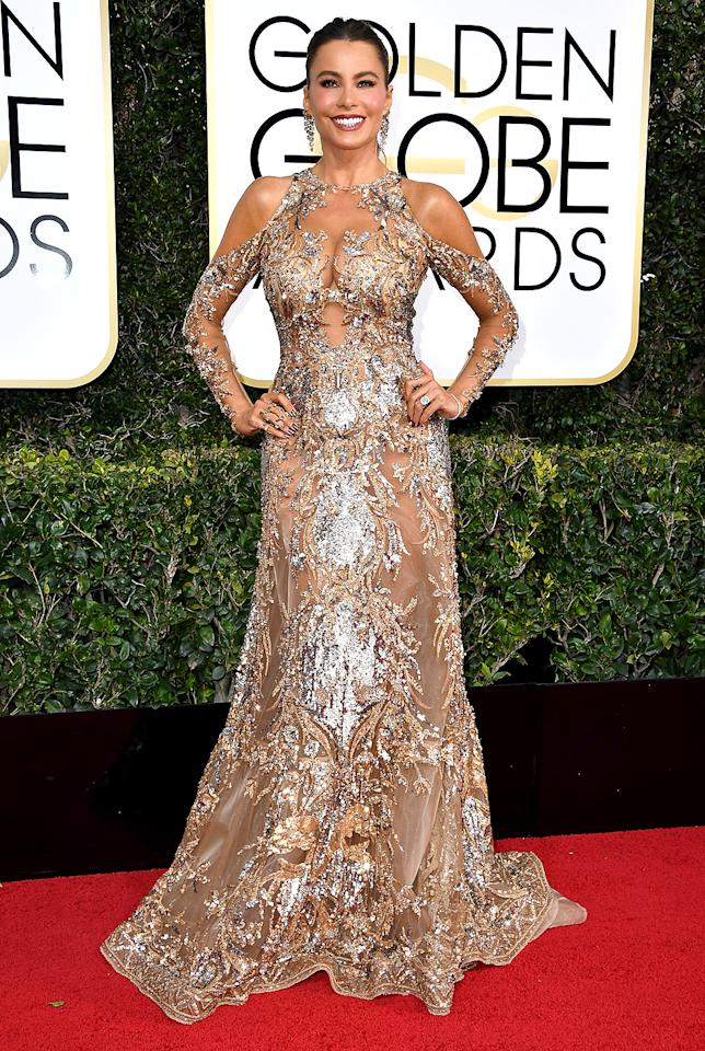 <p>Modern Family star Sofia Vergara left little to the imagination upon arriving at the 74th Golden Globe Awards in a metallic masterpiece that featured exposed shoulders and peekaboo cutouts. Dripping earrings and a ponytail completed her look. The only thing missing: Her hot hubby, Joe Manganiello, who was at home celebrating his beloved Pittsburgh Steelers' football win. (Photo by Neilson Barnard/NBCUniversal/NBCU Photo Bank via Getty Images) </p>