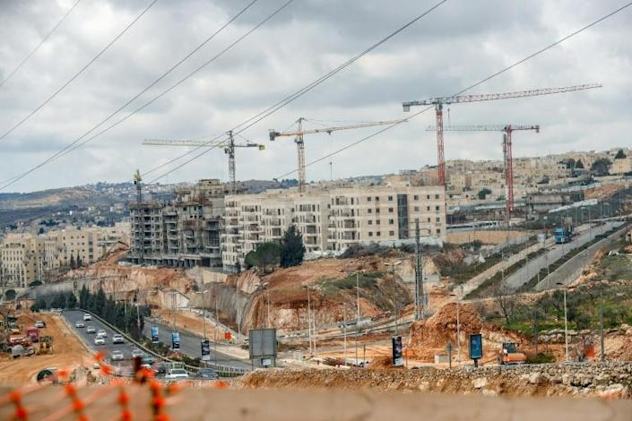 A view of ongoing construction work at Ramat Shlomo, a Jewish settlement in the Israeli-annexed eastern sector of Jerusalem (AFP Photo/AHMAD GHARABLI)