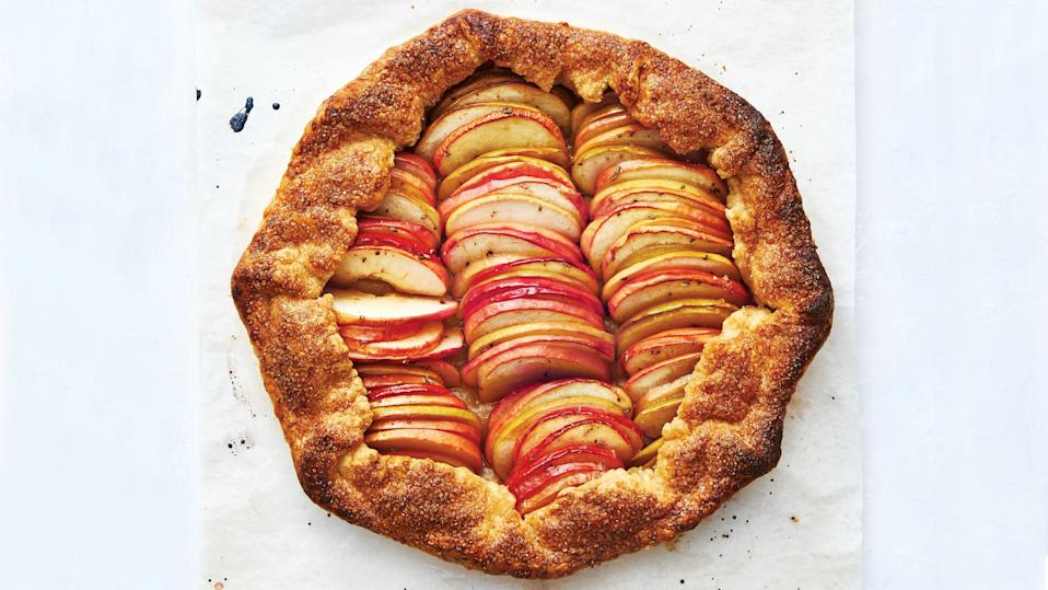 """Our favorite apples for baking are Pink Lady, Honeycrisp, and Granny Smith; they hold their shape well and don't turn mushy when cooked. This would also be excellent made with Comice or Bartlett pears. <a href=""""https://www.epicurious.com/recipes/food/views/fall-fruit-apple-pear-galette?mbid=synd_yahoo_rss"""" rel=""""nofollow noopener"""" target=""""_blank"""" data-ylk=""""slk:See recipe."""" class=""""link rapid-noclick-resp"""">See recipe.</a>"""