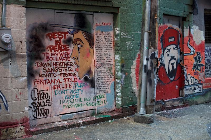 A mural in an alley in Vancouver, painted by a man mourning the death of his wife and other victims killed by drug overdoses