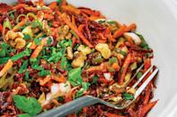 "You can make this raw root vegetable slaw up to four days before you plan to eat it, so it's perfect for fall lunches. <a href=""https://www.epicurious.com/recipes/food/views/beet-and-carrot-salad?mbid=synd_yahoo_rss"" rel=""nofollow noopener"" target=""_blank"" data-ylk=""slk:See recipe."" class=""link rapid-noclick-resp"">See recipe.</a>"
