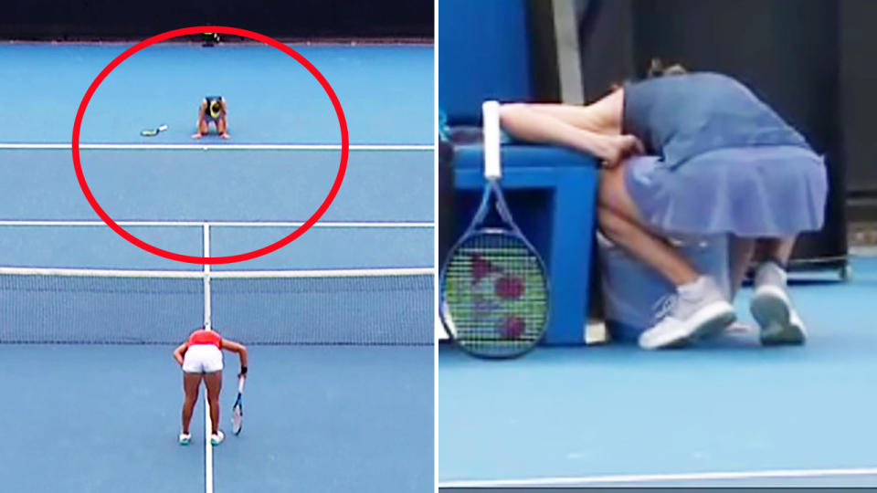Kaja Juvan, pictured here collapsing and throwing up after her win at the Australian Open.