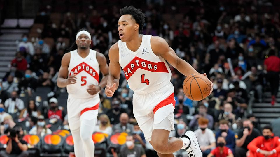 Rookie Scottie Barnes (4) is starting the season in the Raptors' starting lineup. (Kevin Sousa-USA TODAY Sports)