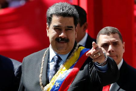 Venezuela's President Nicolas Maduro gestures while he arrives for a special session of the National Constituent Assembly to present his annual state of the nation in Caracas, Venezuela January 14, 2019. REUTERS/Carlos Garcia Rawlins