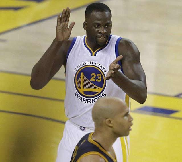"<a class=""link rapid-noclick-resp"" href=""/nba/players/5069/"" data-ylk=""slk:Draymond Green"">Draymond Green</a> and <a class=""link rapid-noclick-resp"" href=""/nba/players/3523/"" data-ylk=""slk:Richard Jefferson"">Richard Jefferson</a> are already talking with another round to go before the NBA Finals. (AP)"
