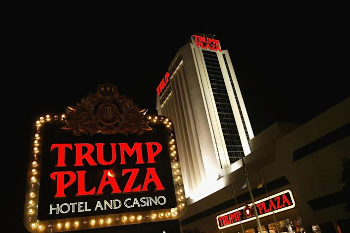 A sign marks the Trump Plaza Hotel and Casino in 2004 in Atlantic City, New Jersey. (Photo: Craig Allen/Getty Images)