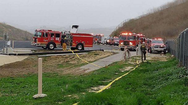 PHOTO: First responders on the scene of a helicopter crash in Calabasas, Calif., Jan. 26, 2020. (Los Angeles County Sheriff's Office)