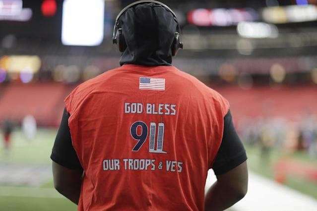 <p>Tampa Bay Buccaneers defensive tackle Gerald McCoy warms up with a 9/11 remembrance shirt on before the first half of an NFL football game between the Atlanta Falcons and the Tampa Bay Buccaneers, Sunday, Sept. 11, 2016, in Atlanta. (AP Photo/David Goldman) </p>