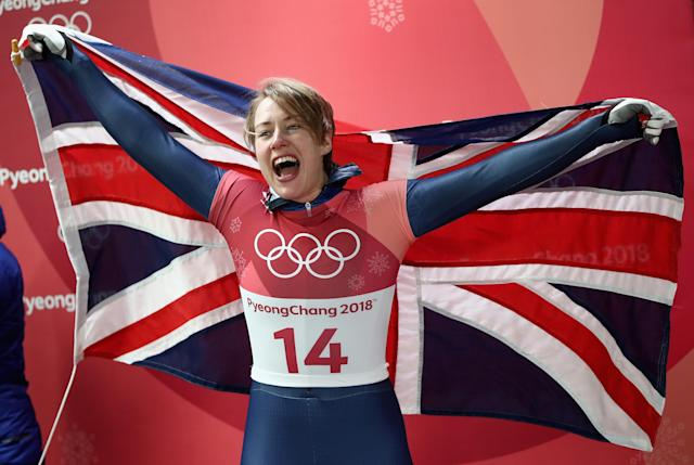 <p>Lizzy Yarnold of Great Britain celebates as she secures the gold medal at the Womens Skeleton on day eight of the PyeongChang 2018 Winter Olympic Games at Olympic Sliding Centre on February 17, 2018 in Pyeongchang-gun, South Korea. (Photo by Clive Mason/Getty Images) </p>