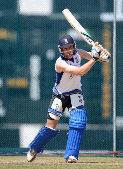 KANDY, SRI LANKA - SEPTEMBER 30:  Jos Buttler of England bats during a nets session at Asgiriya Stadium on September 30, 2012 in Kandy, Sri Lanka.  (Photo by Gareth Copley/Getty Images)