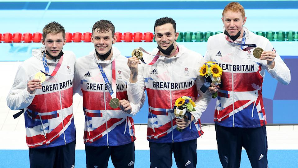 The Great Britain team won gold in the men's 4x200m freestyle relay. Pic: Getty