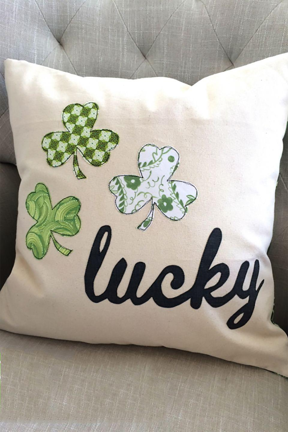 """<p>Add a pop of green to your couch with this adorable pillow cover. </p><p><strong>Get the tutorial at <a href=""""http://www.jedicraftgirl.com/2015/03/lucky-pillow-version-2-0.html"""" rel=""""nofollow noopener"""" target=""""_blank"""" data-ylk=""""slk:Jedi Craft Girl"""" class=""""link rapid-noclick-resp"""">Jedi Craft Girl</a>. </strong></p><p><a class=""""link rapid-noclick-resp"""" href=""""https://www.amazon.com/Lunarable-Patricks-Pattern-Decorative-Upholstery/dp/B07MMQPV56/ref=sr_1_48?tag=syn-yahoo-20&ascsubtag=%5Bartid%7C10050.g.4036%5Bsrc%7Cyahoo-us"""" rel=""""nofollow noopener"""" target=""""_blank"""" data-ylk=""""slk:SHOP FABRIC"""">SHOP FABRIC</a><br></p>"""