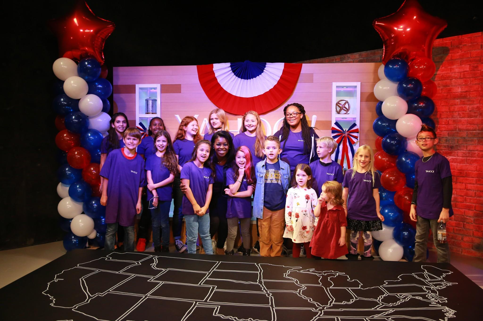 The children of Yahoo staff members and their guests pose for a photo at the Yahoo News Studios on Tuesday, Nov. 8, 2016. (Photo: Gordon Donovan/Yahoo News)