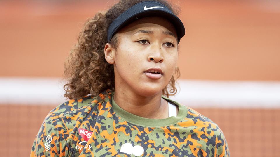 Naomi Osaka, pictured here during a practice session on Court Philippe-Chatrier.