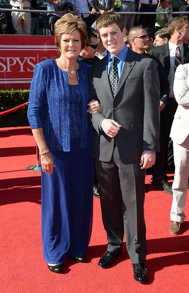 Legendary NCAA women's basketball coach Pat Summitt, who retired and now serves as the head coach emeritus of the Tennessee Lady Volunteers basketball team, and her son Tyler arrive at the 2012 ESPY Awards.