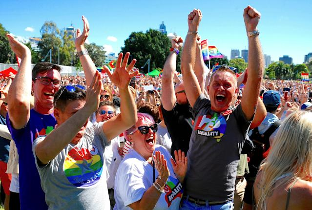 <p>Supporters of the 'Yes' vote for marriage equality celebrate after it was announced the majority of Australians support same-sex marriage in a national survey, paving the way for legislation to make the country the 26th nation to formalise the unions by the end of the year, at a rally in central Sydney, Australia, Nov. 15, 2017. (Photo: David Gray/Reuters) </p>