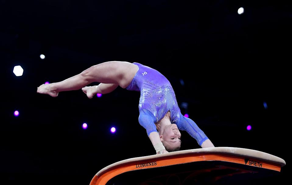 """<p>Carey told POPSUGAR that vault is her favorite out of the four events in women's gymnastics. In fact, she has a skill named after her in the Junior Olympic Code of Points. Called, """"The Carey,"""" it is what's referred to as a """"<a href=""""http://www.usgymchampionships.com/2017/08/debut-elite-season-carey-vaults-spotlight/"""" class=""""link rapid-noclick-resp"""" rel=""""nofollow noopener"""" target=""""_blank"""" data-ylk=""""slk:tucked Kasamatsu full"""">tucked Kasamatsu full</a>,"""" and it was entered in the Code of Points after she performed it at the 2016 Junior Olympic Championships. (For any gymnastics nerds looking to read about the difference between a Kasamatsu vault and a Tsuk vault, <a href=""""http://www.flogymnastics.com/articles/6317149-whats-the-difference-between-a-kasamatsu-a-tsukahara"""" class=""""link rapid-noclick-resp"""" rel=""""nofollow noopener"""" target=""""_blank"""" data-ylk=""""slk:here you go"""">here you go</a>.)</p>"""