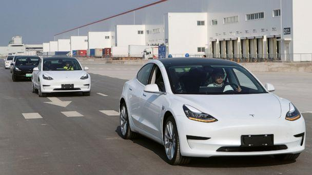 PHOTO: China-made Tesla Model 3 vehicles are seen at the Shanghai Gigafactory of the U.S. electric car maker in Shanghai, China, Dec. 30, 2019. (Sun Yilei/Reuters)