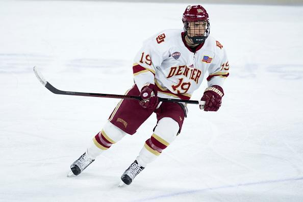 Troy Terry skates during the third period of an NCAA hockey game against the Arizona State Sun Devils at DU's Magness Arena on January 7, 2017, in Denver, Colorado. (Getty Images)