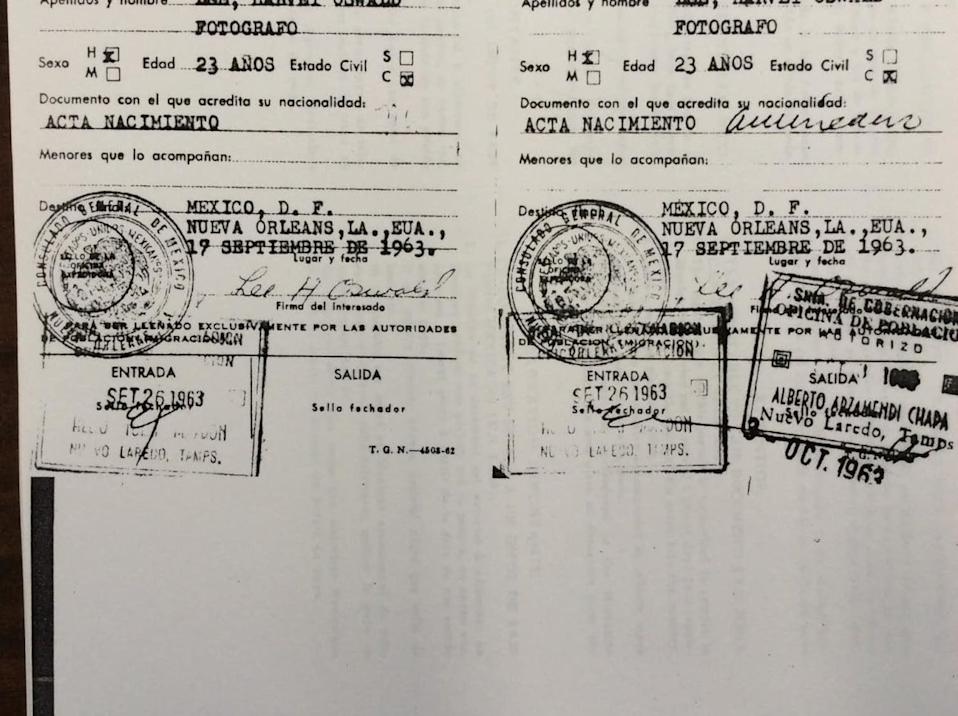 "<div class=""inline-image__caption""><p>Lee Harvey Oswald's Mexico visa from 1963, with entry and exit stamps.</p></div> <div class=""inline-image__credit"">Mexican Secretary of the Interior</div>"