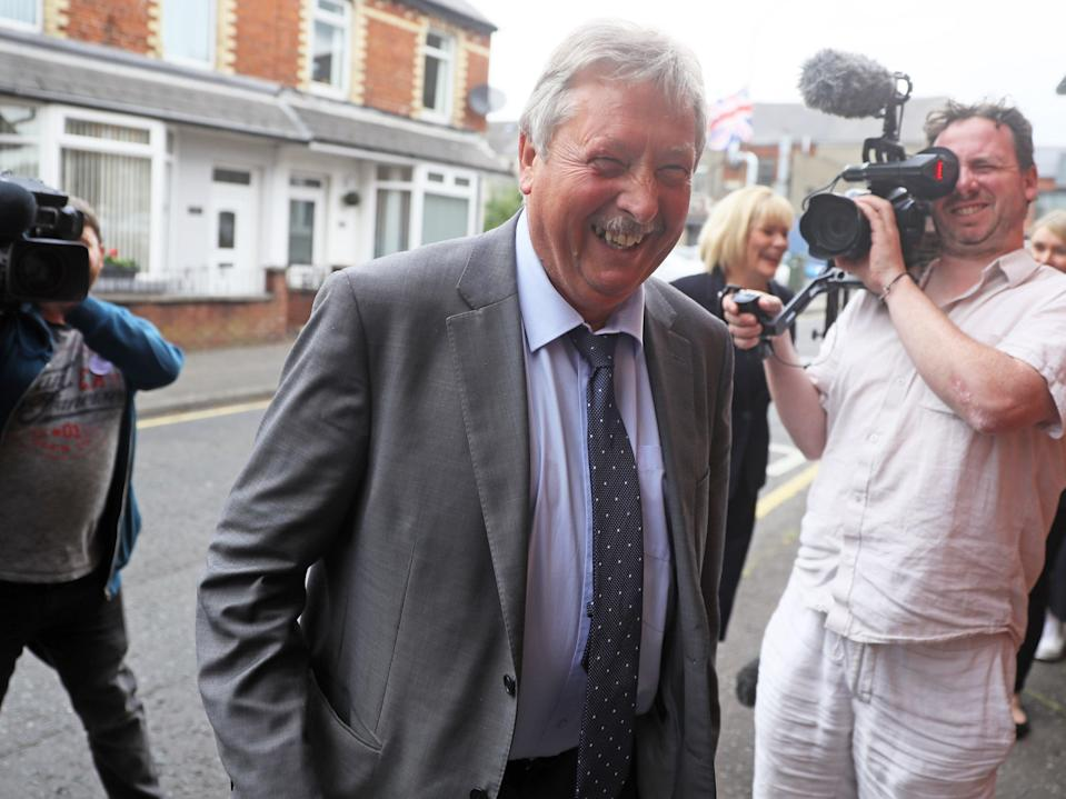 DUP MP Sammy Wilson arrives for crisis meeting on Thursday night (PA)