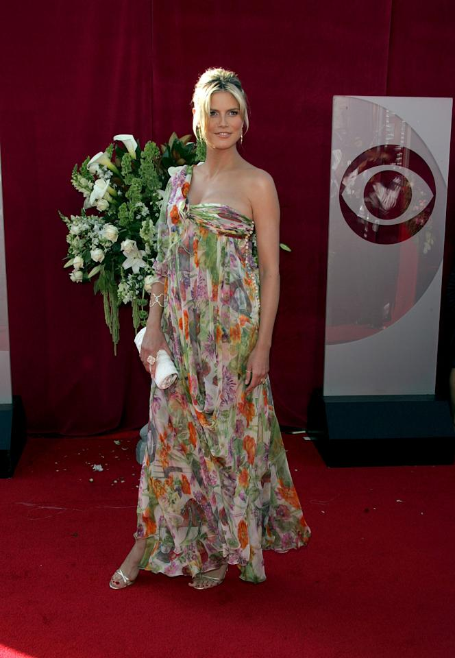Heidi Klum arrives at the 57th Annual Emmy Awards held at the Shrine Auditorium on September 18, 2005 in Los Angeles, California (By  Albert L. Ortega/WiredImage).