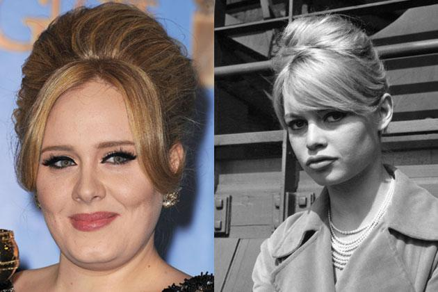 Adele (left) is the modern-day Brigitte Bardot (right). She recently had her hair styled like the French actress's famous bouffant at the recent Golden Globes.