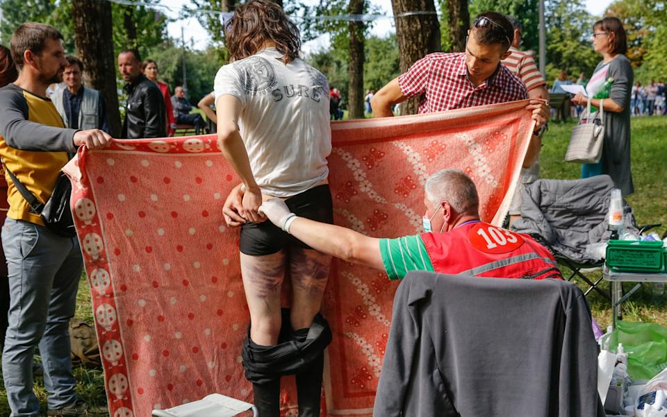 Doctors provided medical treatment to many of those released - Tatyana Zenkovich/EPA-EFE