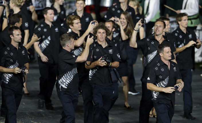 <b>Worst</b> <br> New Zealand's uniform fell flat because of a monotone color palette. The matching black tops and bottoms with silver patterns were just dull.