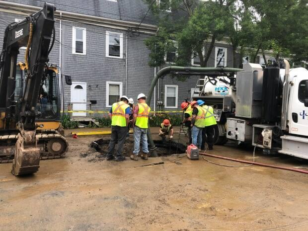 Halifax Water was alerted to the water main break near 2360 Agricola St. early Monday morning. (CBC/Paul Poirier - image credit)