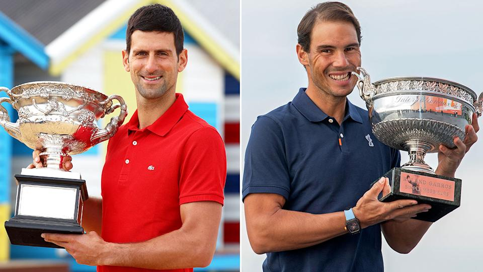 Pictured here, Novak Djokovic and Rafael Nadal pose with their most recent major trophies.