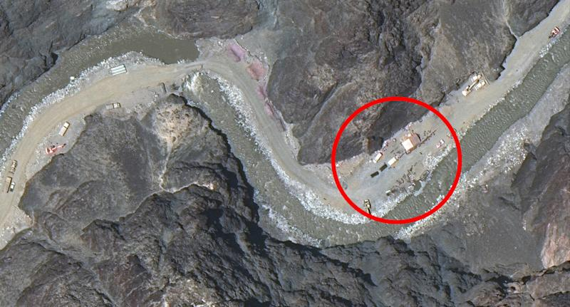 Pictured is a satellite image with a red circle around new constructions set up by China in the Galwan Valley.