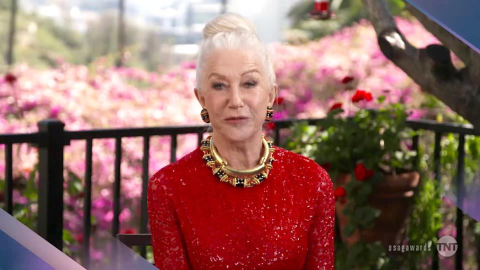 VARIOUS CITIES - APRIL 04: In this screengrab released on April 4, 2021, Helen Mirren speaks during the 27th Annual Screen Actors Guild Awards on April 04, 2021. (Photo by 27th Annual SAG Awards/Getty Images for WarnerMedia)