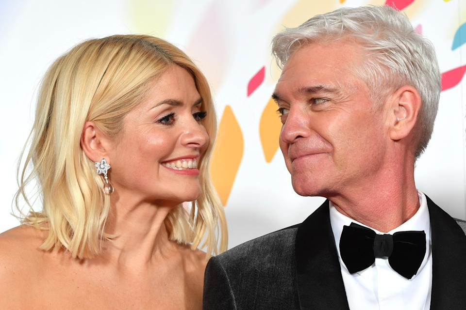 LONDON, ENGLAND - JANUARY 28: Holly Willoughby and Phillip Schofield pose with the award for Live Magazine Show for 'This Morning' in the winners room attends the National Television Awards 2020 at The O2 Arena on January 28, 2020 in London, England. (Photo by Gareth Cattermole/Getty Images)