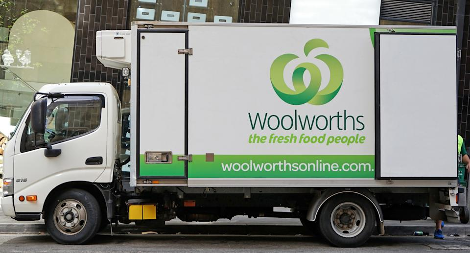 A Woolworths home delivery truck offers choice.