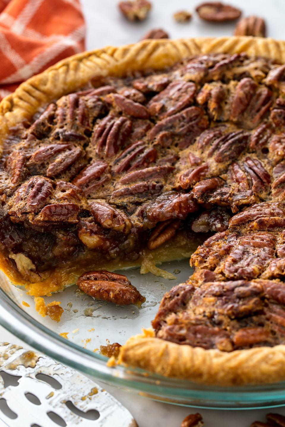 """<p>Nothing screams Thanksgiving more than a classic pecan pie.</p><p>Get the recipe from <a href=""""https://www.delish.com/cooking/recipe-ideas/recipes/a55685/easy-pecan-pie-recipe/"""" rel=""""nofollow noopener"""" target=""""_blank"""" data-ylk=""""slk:Delish"""" class=""""link rapid-noclick-resp"""">Delish</a>.</p>"""