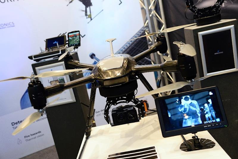 Recent years have seen the increased adoption of surveillance and security drones, including this one photographed November 17, 2015 at the MILIPOL exhibition of internal state security technologies in the Paris suburbs (AFP Photo/Bertrand Guay)