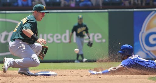 Oakland Athletics shortstop Cliff Pennington (2) waits for the throw as Texas Rangers' Elvis Andrus (1) safely steals second base during the first inning of a baseball game Thursday, May 17, 2012, in Arlington, Texas. (AP Photo/LM Otero)