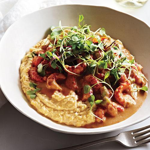 """<p>Substitute shrimp for the crawfish, if you prefer. Toasting the flour brings nutty flavor to the sauce, similar to a brown roux. Microgreens make an elegant garnish.</p> <p> <a rel=""""nofollow noopener"""" href=""""http://www.myrecipes.com/recipe/saucy-crawfish"""" target=""""_blank"""" data-ylk=""""slk:View Recipe: Saucy Crawfish with Whole Corn Grits"""" class=""""link rapid-noclick-resp"""">View Recipe: Saucy Crawfish with Whole Corn Grits</a></p>"""