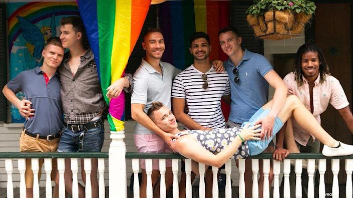 group of gay men on porch in P-town