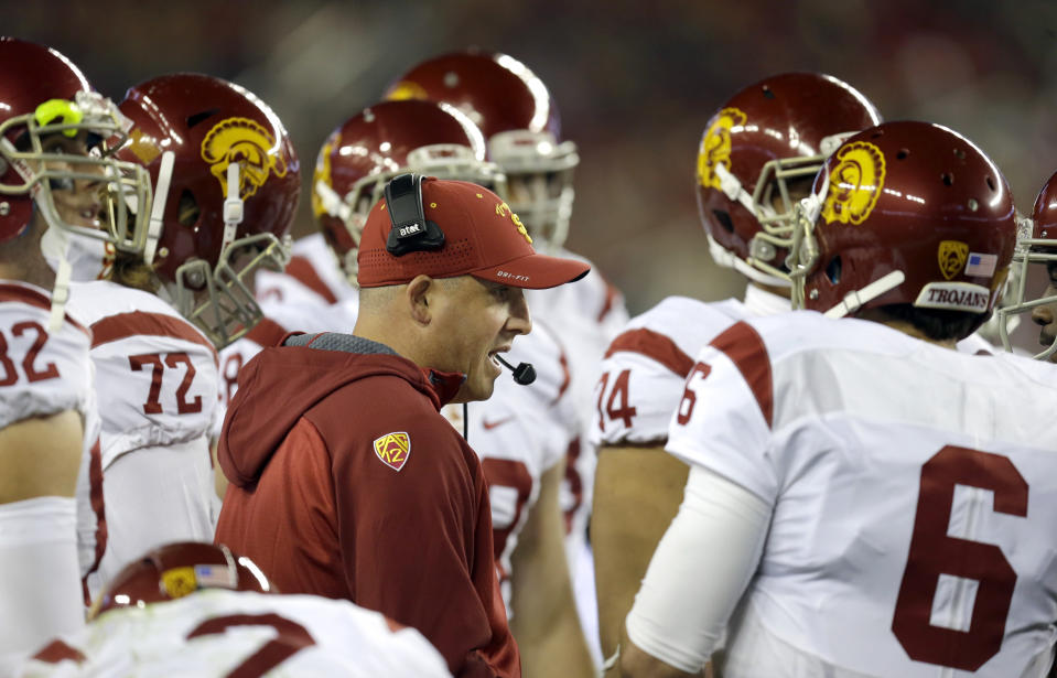 Clay Helton was rewarded in February with a contract extension running through 2023. (AP)