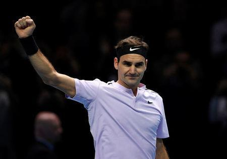 Tennis - ATP World Tour Finals - The O2 Arena, London, Britain - November 12, 2017 Switzerland's Roger Federer celebrates after winning his group stage match against USA's Jack Sock Action Images via Reuters/Tony O'Brien