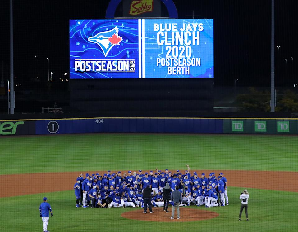 The Toronto Blue Jays celebrated a 2020 postseason berth at their makeshift home in Buffalo after Canada declined to grant them an exception to the country's COVID-19 rules.