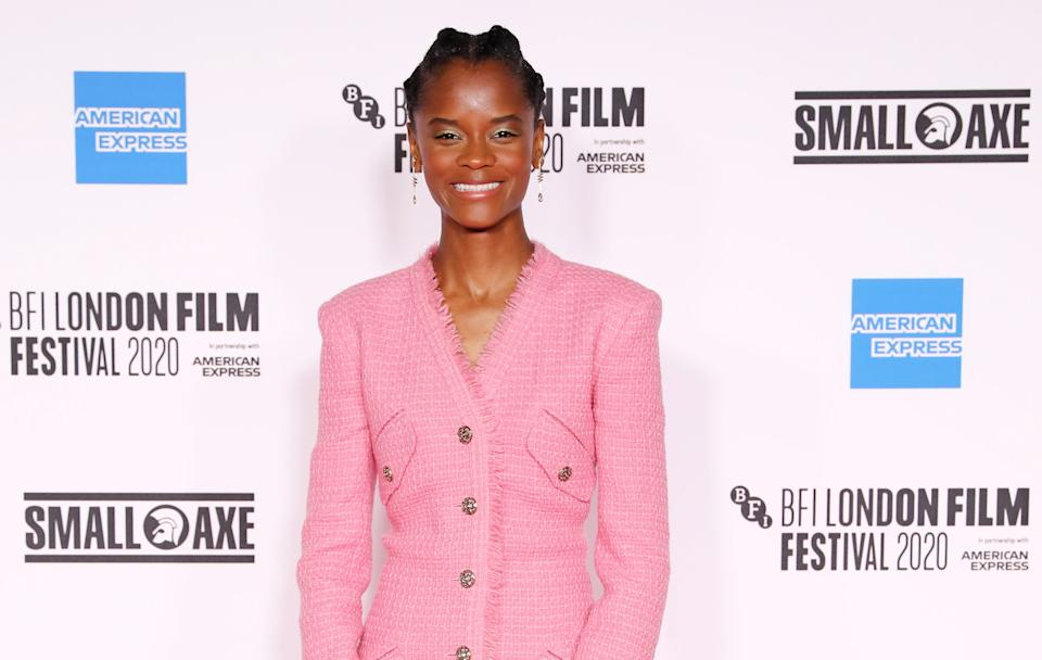 "LONDON, ENGLAND - OCTOBER 07:  Letitia Wright attends the European Premiere of ""Mangrove"", the Opening Night screening of the 64th BFI London Film Festival, at BFI Stephen Street on October 7, 2020 in London, England.  (Photo by David M. Benett/Dave Benett/WireImage)"