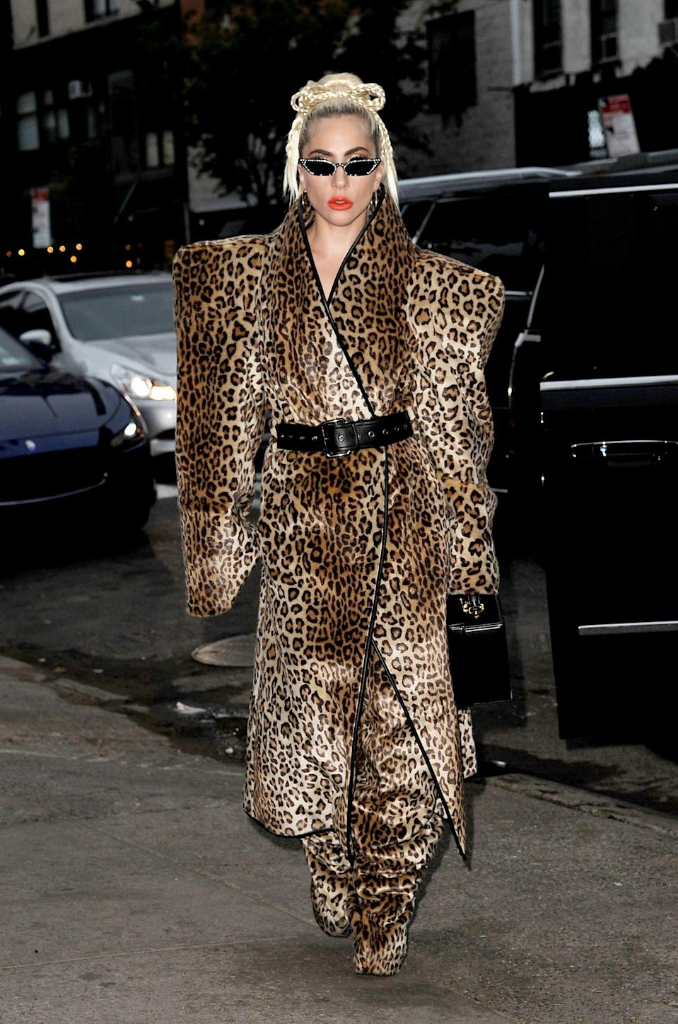 <p>Gaga should be commended for this masterpiece alone, proving that leopard print in no way must adhere to its tight-fitting legacy. [Photo: Rex] </p>