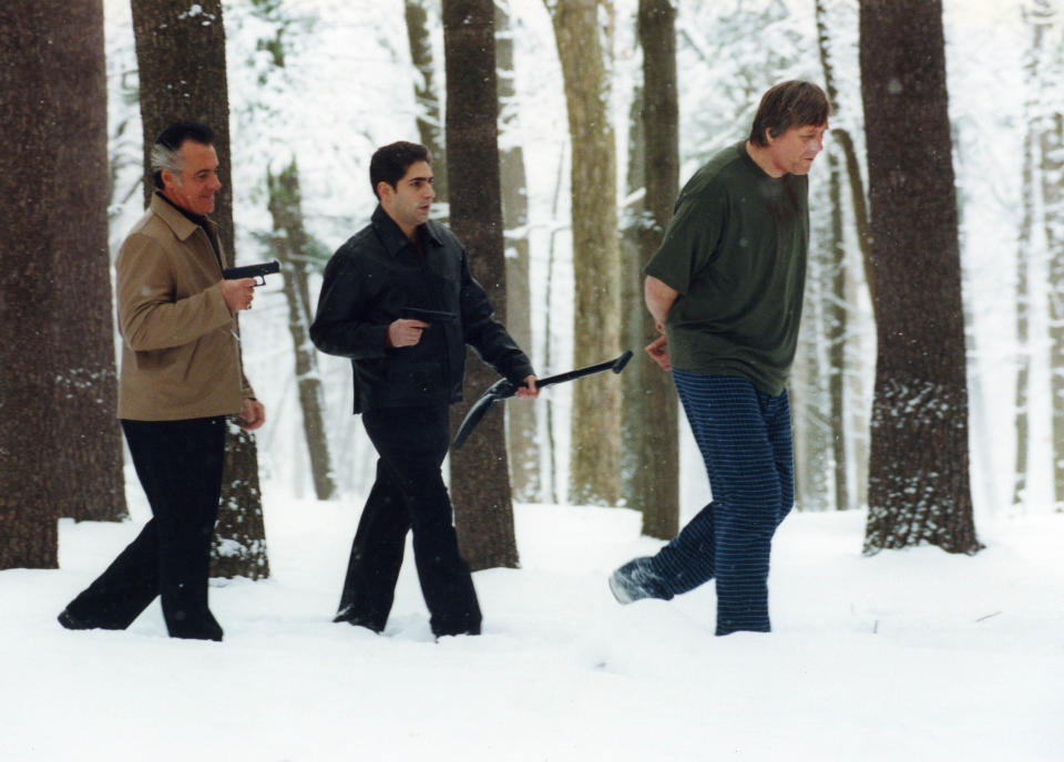 The Sopranos Season 3. Vitali Baganov as Valer, Michael Imperioli as Christopher Moltisanti and Tony Sirico as Paulie Walnuts. (Copyright 2000-2005 Home Box Office Inc. All Rights Reserved.)