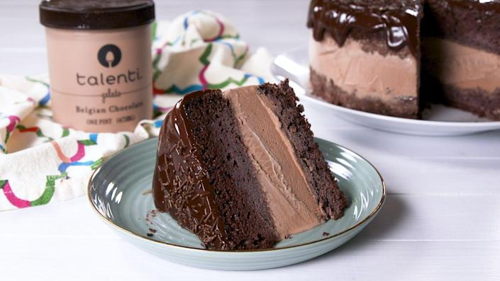 """<p>An 8"""" springform pan is the secret to the perfectly neat edges of this ice cream cake. </p><p>Get the recipe from <a href=""""https://www.delish.com/cooking/recipe-ideas/a20720591/death-by-chocolate-ice-cream-cake-recipe/"""" rel=""""nofollow noopener"""" target=""""_blank"""" data-ylk=""""slk:Delish"""" class=""""link rapid-noclick-resp"""">Delish</a>.</p>"""