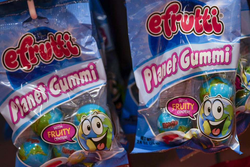 Candy featured in TikTok videos is seen at It'Sugar candy store, Wednesday, Oct. 6, 2021, on the Upper East Side of New York. (AP Photo/Mary Altaffer)